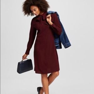 Medium Who What Wear Burgundy Tie Neck Dress